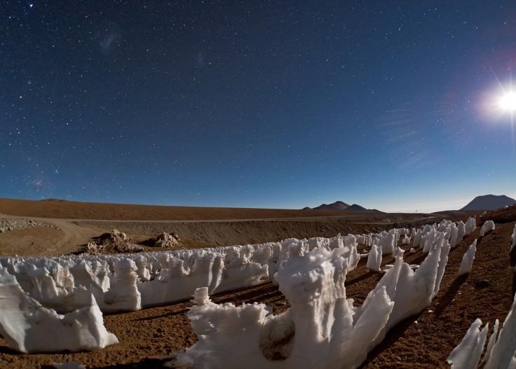 Սառցե ցցվածքները` լուսավորված Լուսնի լույսով:CREDIT: ESO/B. Tafreshi (twanight.org)