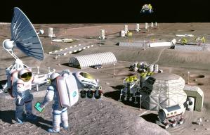 Ֆանտաստ նկարչի կողմից պատկերված Լուսնային բազան:CREDIT: Pat Rawlings, (SAIC)